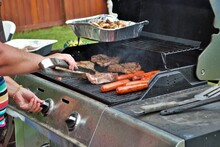Food On The Grill At A Backyard Cookout