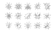 Creative Designer, Idea And Inspiration. Creativity Line Icons. Brush And Pencil Linear Icon Set. Geometric Elements. Quality Signs Set. Vector