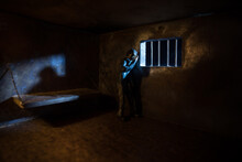 Jail Or Prison Cell. Man In Pr...