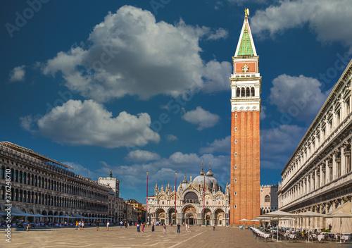 Fototapeta San Marco square with Campanile and Saint Mark's Basilica in Venice, Italy