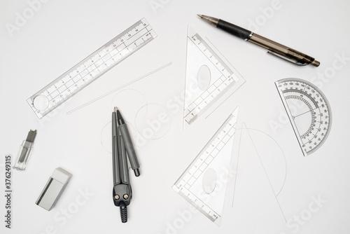 Fotografie, Obraz fournitures scolaire, accessoires pour géométrie