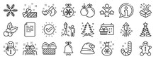 Santa Hat, Gingerbread Man And Gift Box Icons. Christmas, New Year Line Icons. Fireworks, Snowflake And Christmas Holly. Snowman, Santa Socks And Pine Tree. New Year Ball, Holiday Calendar. Vector