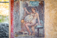 Leda And The Swan: The Fresco Re-emerges In A Room Along Via Del Vesuvio, During Re-profiling Interventions On The Regio V Excavation Fronts, Pompeii
