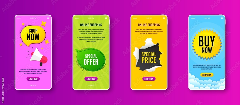 Fototapeta Special offer bubble. Phone screen banner. Discount banner shape. Sale coupon chat icon. Sale banner on smartphone screen. Mobile phone web template. Special offer promotion. Vector