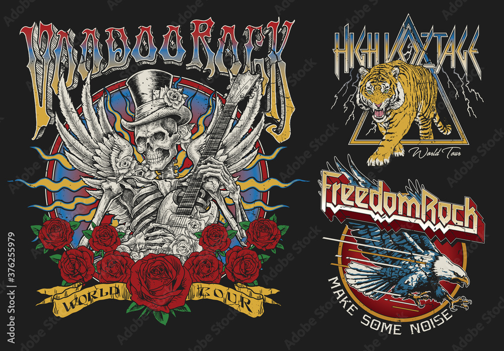 Fototapeta Set of Vintage Rock Concert Style T-shirt Designs.
