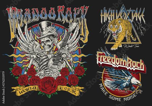Set of Vintage Rock Concert Style T-shirt Designs.