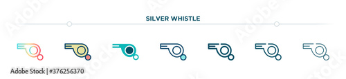 Foto silver whistle icon designed in gradient, filled, two color, thin line and outline style