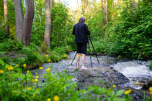 Barefoot Photographer Taking Picture Of Water Cascade While Standing In River. Spring May Day. Poland, Europe.