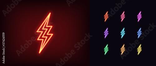 Slika na platnu Neon lightning icon