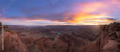 Beautiful sunset from Dead Horse Point in Moab Utah Canvas Print