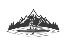 Kayaking On Mountain Lake Vector Illustration With Kayaker And Mountain Silhouette. Water Sport And Kayaking Design Concept