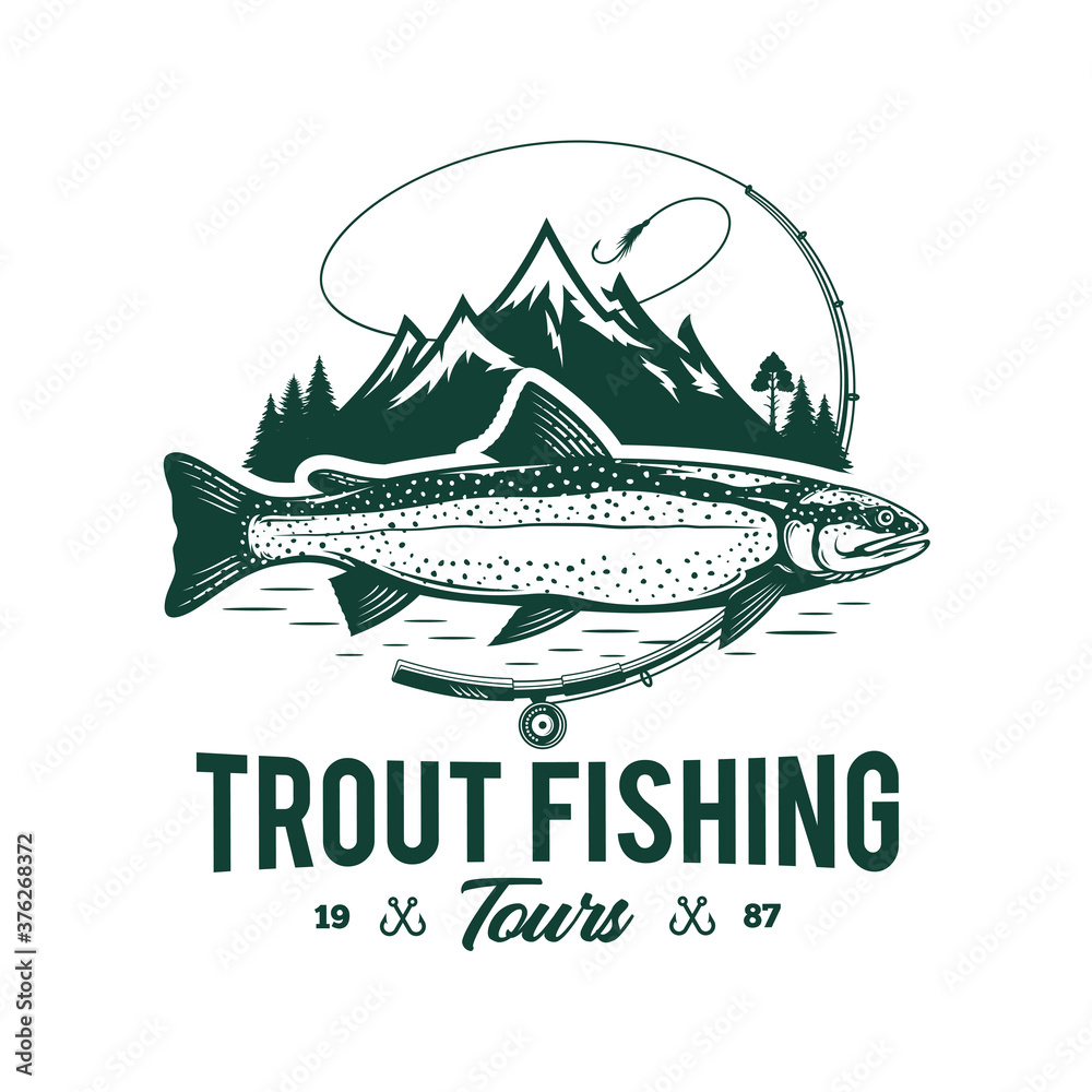 Fototapeta Vector fishing logo with trout fish, fishing rod, line, hook, and mountains. Fishing tournament, tour, and camp illustrations