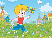 Little Boy Running And Playing With His Toy Whirligig Among Flowers On Green Grass Against A Background Of Colorful Houses Of A Small Town On A Sunny Summer Day, Vector Cartoon Illustration