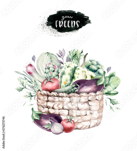Vegetables healthy organic watercolor wooden box and Wicker basket with bell pepper, leek, onion and avocado vitamin rosemary illustration Poster Mural XXL