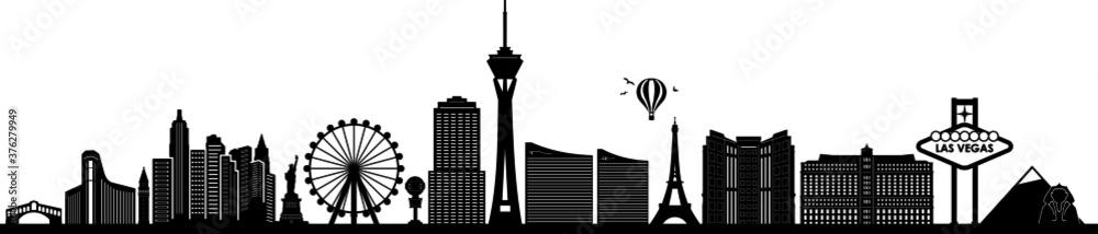 LAS VEGAS City NEVADA Skyline Silhouette Cityscape Vector