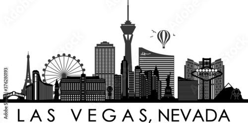 Fototapety, obrazy: LAS VEGAS City NEVADA Skyline Silhouette Cityscape Vector