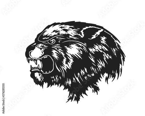 Papel de parede Beast Head. Hand Drawn Vector Illustration
