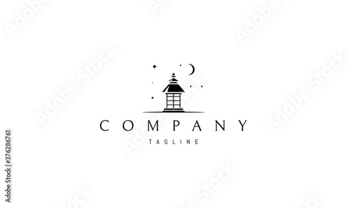 Fototapeta Vector logo on which an abstract image of a gazebo under the night sky