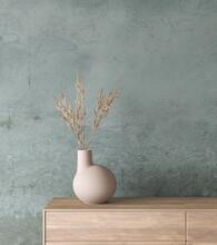Mock Up In Loft Interior Background, Living Room, Scandinavian Home Decor, 3d Render