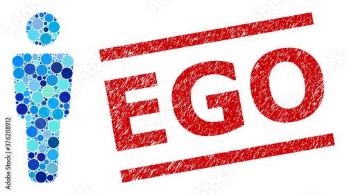 Fototapeta Round dot collage man alone and EGO textured stamp imitation