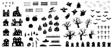 Collection Of Happy Halloween Silhouettes. Set Of Icon For Celebration. Vector Illustration On White Background.