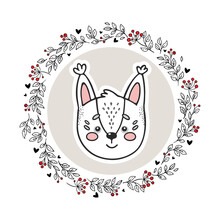 Animal Logo Isolated On White Background. Hand Drawn Squirrel In Circle Doodle Vector Frame. Vintage Style. Perfect For Nursery, Kids Apparel, Greeting, Invitation, And Wish Cards. Baby Shower Theme.