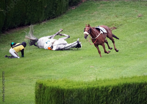 Fotografie, Obraz A jockey fallen from a horse while an another horse without jockey passing them by