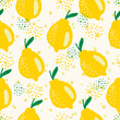 Seamless summer vector pattern with whole yellow lemons with leaves. Tropical background in hand drawn cartoon style. Colorful citrus backdrop for textile, fabric, decoration, digital paper.