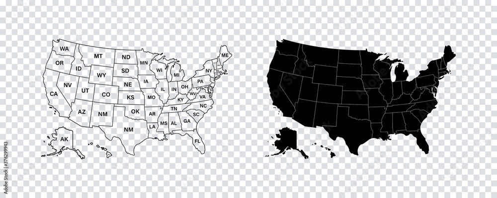 Fototapeta USA map states. Vector line design. High detailed USA map. Labeled with postal abbreviatations. Stock vector.