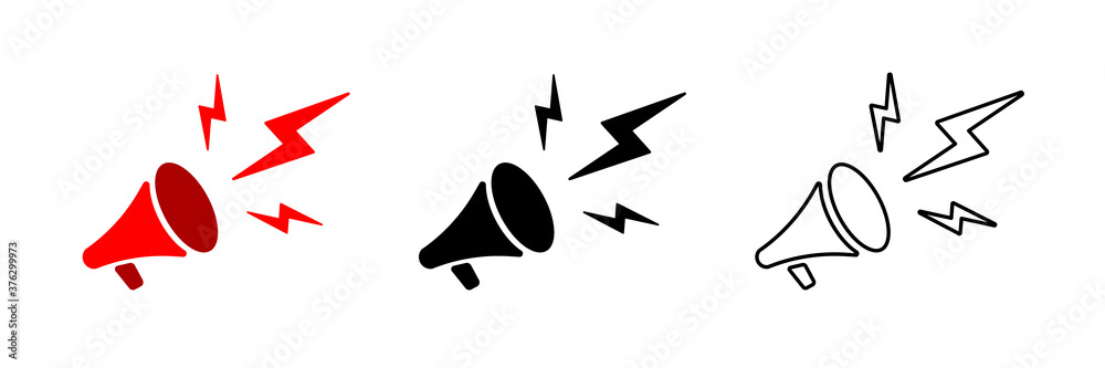 Fototapeta Megaphone icon. Vector isolated megaphone linear icon template. Megaphone vector illustration in different styles. Stock vector.