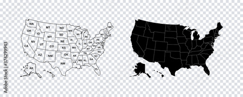 Fototapeta USA map states. Vector line design. High detailed USA map. Labeled with postal abbreviatations. Stock vector. obraz