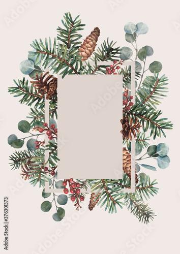 Obraz New year card in watercolor - fototapety do salonu