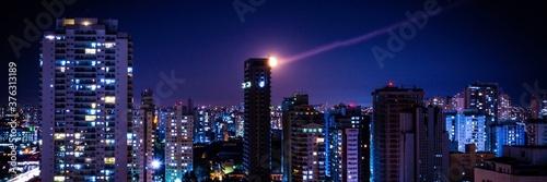 Céu noturno espetacular em São Paulo Capital Brasil - Banner Imagem noturna céu Canvas