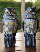 Two Owls Decoys To Pretend To Be Birds Of Prey And Scare Away Critters