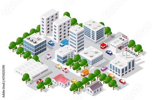 Isometric view of the city. Collection of houses 3D Tapéta, Fotótapéta