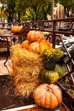 Traditional Shop Decor With Pumpkins