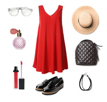 Elegant Look. Collage With Dress, Shoes, Accessories And Cosmetics For Woman On White Background