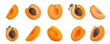 Set Of Cut Fresh Apricots On W...