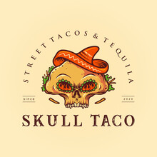Sugar Skull Taco Mexican Logo Mascot Food Illustrations