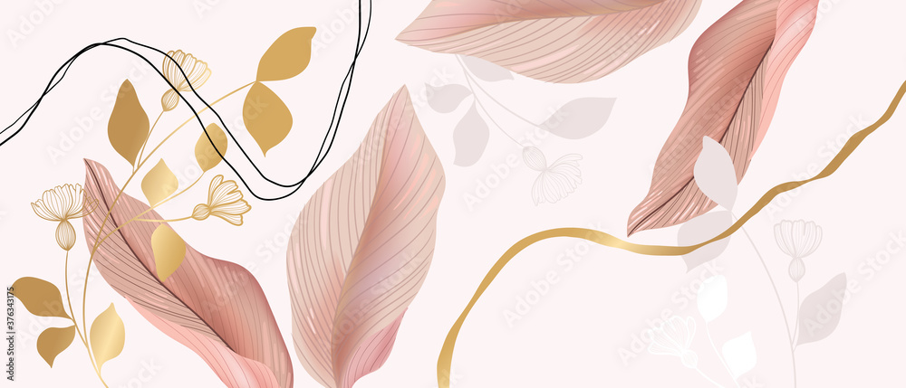 Fototapeta Floral seamless pastel pink and golden metallic plant background vector for house deco