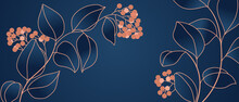 Floral Seamless Navy Blue And Copper Metallic Plant Background Vector For House Deco
