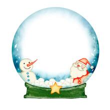 スノードーム スノーグローブ サンタクロース クリスマス カード 水彩 イラスト