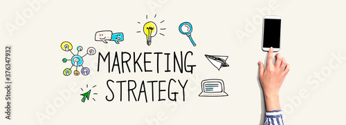 Marketing strategy with person using a smartphone