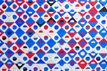 Blue And Red Pattern In Geometric Ornamental Style With Squares And Circles. Abstract Background Texture In Geometric Ornamental Style. Flawless Design. Honeycomb Pattern Floor Mosaic