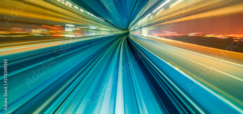 Fotografía Abstract high speed technology POV train motion blurred concept from the Yuikamo