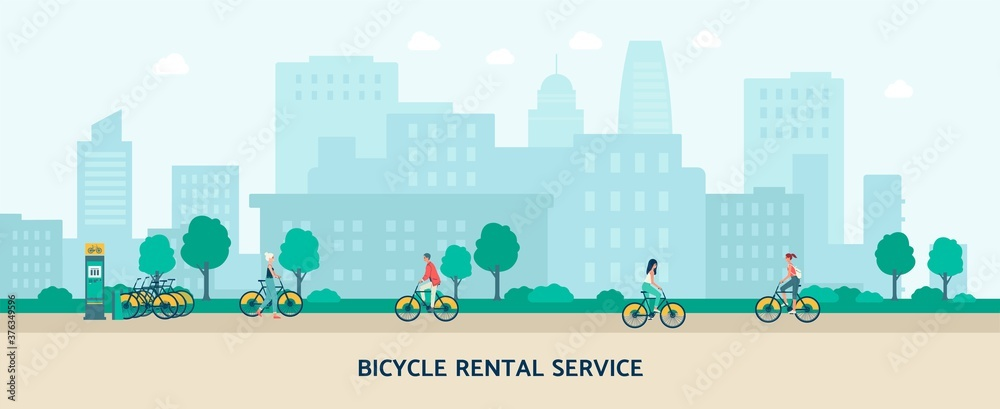 Fototapeta Bicycle rental service banner with people riding bikes in city park