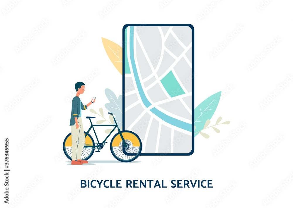 Fototapeta Bicycle rental service with phone screen flat vector illustration isolated.