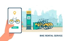 Bike Rental Service App Banner With Smartphone And Bicycle Rent Stand