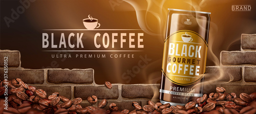 Obraz na plátně Premium canned black coffee ad