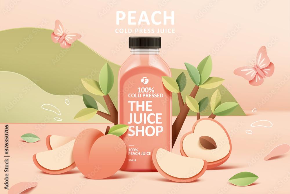 Fototapeta Juice ad in 3d paper cut design
